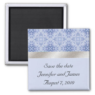 Blue and Silver Save the Date Magnet
