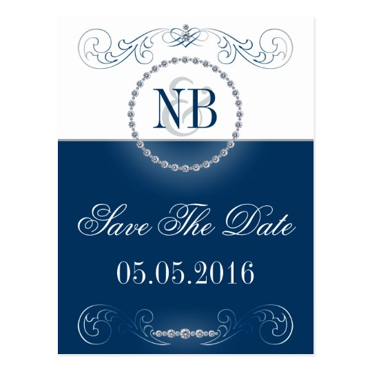 Blue and silver Save The Date postcards