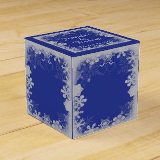 Blue and Silver Snowflake Wedding Party Favour Boxes