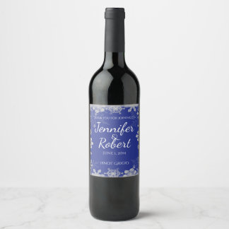 Blue and Silver Snowflake Wedding Wine Label