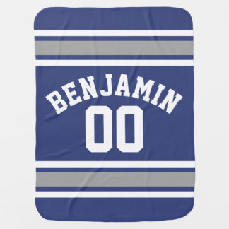 Blue and Silver Sports Jersey Custom Name Number Baby Blanket