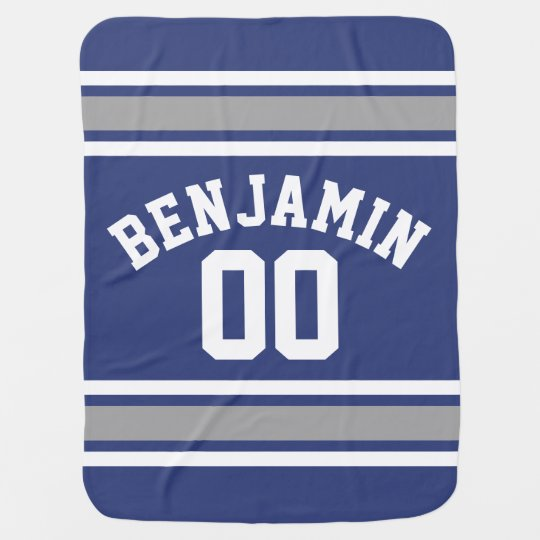 Blue and Silver Sports Jersey Custom Name Number