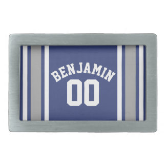 Blue and Silver Sports Jersey Custom Name Number Belt Buckles
