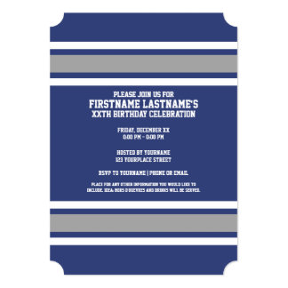 Blue and Silver Sports Jersey Custom Name Number 5x7 Paper Invitation Card