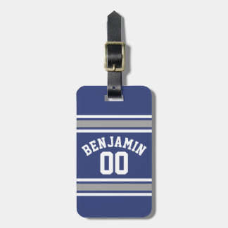Blue and Silver Sports Jersey Custom Name Number Luggage Tag