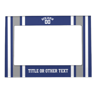 Blue and Silver Sports Jersey Custom Name Number Magnetic Picture Frame