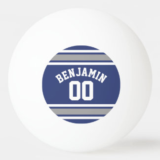 Blue and Silver Sports Jersey Custom Name Number Ping Pong Ball