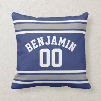 Blue and Silver Sports Jersey Custom Name Number Throw Cushions