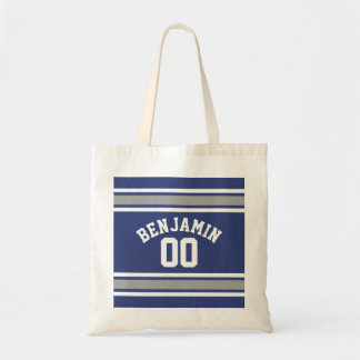 Blue and Silver Sports Jersey Custom Name Number Tote Bag