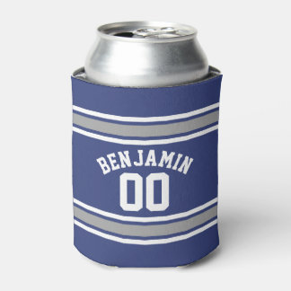 Blue and Silver Sports Jersey Custom Name Number Can Cooler