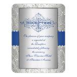 Blue and Silver Swirl Wedding Reception Card 11 Cm X 14 Cm Invitation Card