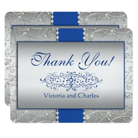 Blue and Silver Swirl Wedding Thank You Card