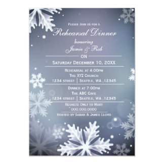 Blue and Silver Winter Rehearsal Dinner invite