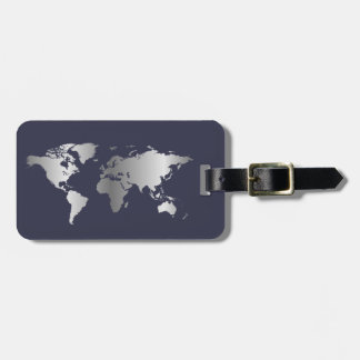Blue and silver World map elegant Luggage Tag