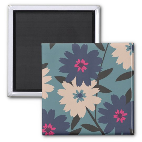 Blue and Tan Blooms Square Magnet