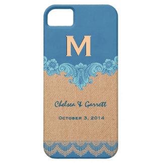 Blue and Tan Burlap Vintage Monogram Wedding V30R iPhone 5 Covers