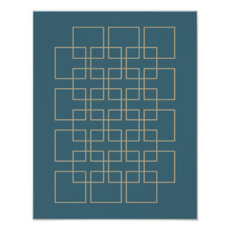 Blue and Tan Divider Mid Century Modern Poster
