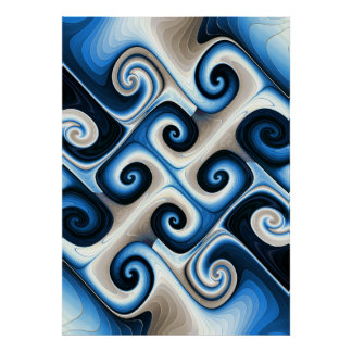Blue and Tan Fractal Gnarl Poster