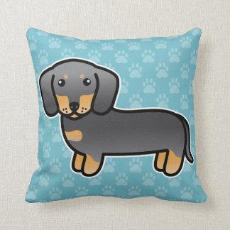 Blue And Tan Smooth Coat Dachshund Cartoon Dog Cushion