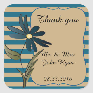 Blue and Tan Stripe with a  Flower Square Sticker