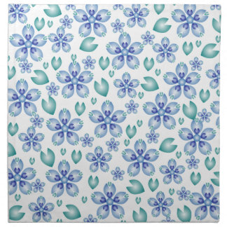 Blue and Teal Flowers Napkin