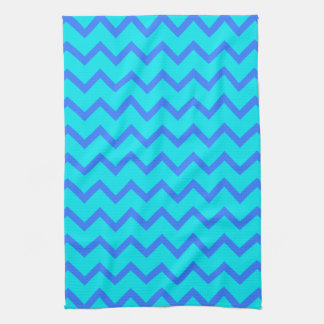 Blue and Teal Zigzag Pattern. Tea Towel