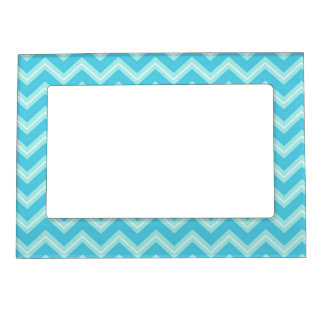 Blue and Turquoise Chevron Magnetic Frame