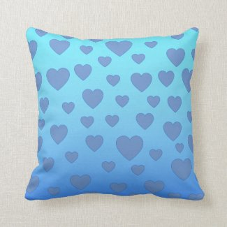 Blue and Turquoise Heart Cushion