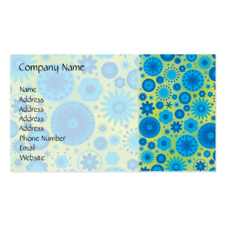 Blue and Turquoise Hippy Flower Pattern Business Card