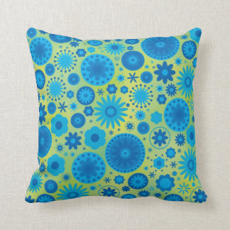 Blue and Turquoise Hippy Flower Pattern Throw Pillow
