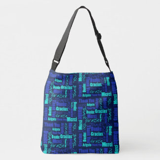 Blue and Turquoise Multilingual Thank You Crossbody Bag