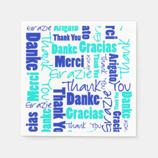Blue and Turquoise Multilingual Thank You Disposable Serviette