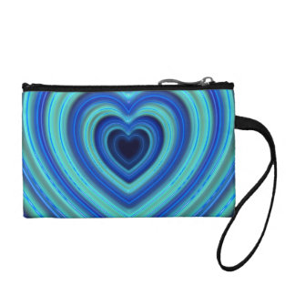 Blue and Turquoise Neon Lighted Hearts Coin Purse