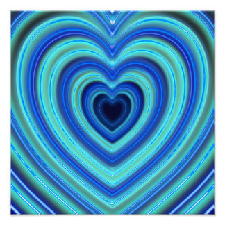 Blue and Turquoise Neon Lighted Hearts Photo Art
