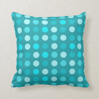 Blue and Turquoise Polka Dot Throw Pillow