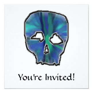 Blue and Turquoise Skull. 13 Cm X 13 Cm Square Invitation Card