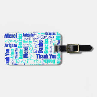 Blue and Turquoise Thank You Word Cloud Luggage Tag