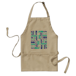Blue and Turquoise Thank You Word Cloud Standard Apron