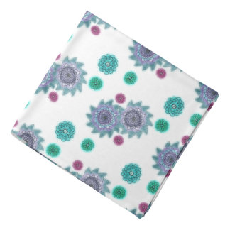 Blue and turquoise watercolor flowers kerchief