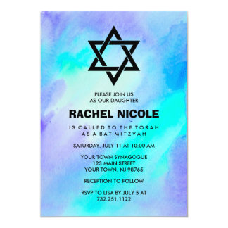 Blue and Turquoise Watercolor Look Bat Mitzvah 13 Cm X 18 Cm Invitation Card