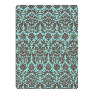 Blue and Umber Elegant Damask Pattern 17 Cm X 22 Cm Invitation Card