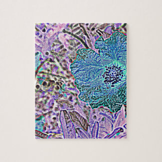 BLUE AND  VIOLET FLORAL JIGSAW PUZZLES