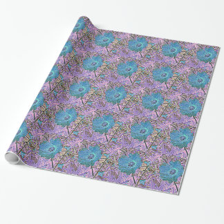 BLUE AND  VIOLET FLORAL WRAPPING PAPER