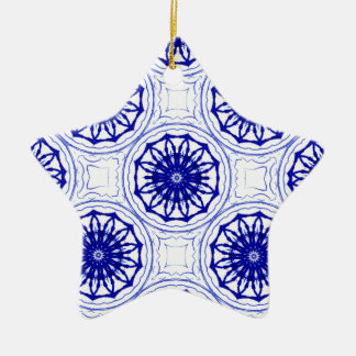 Blue and while flower pattern christmas ornament