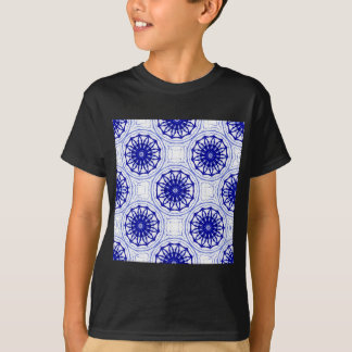 Blue and while flower pattern T-Shirt