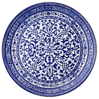 Blue And White 16th Century Roman Design Porcelain Plate