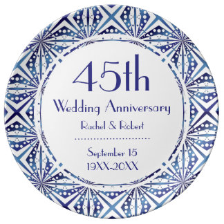 Blue and White 45th Anniversary Geometric Pattern Porcelain Plates
