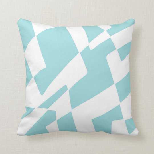 Blue and White Abstract Design Minimalist Squares Cushion
