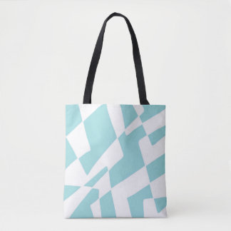 Blue and White Abstract Design Minimalist Squares Tote Bag