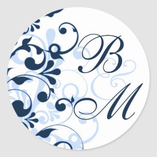 Blue and White Abstract Floral Envelope Seal Round Sticker